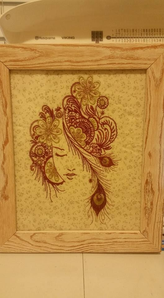 Embroidered picture of beautiful girl design