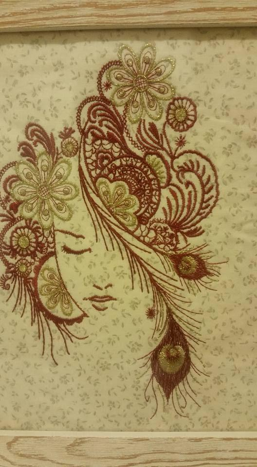 Embroidered picture of young girl design