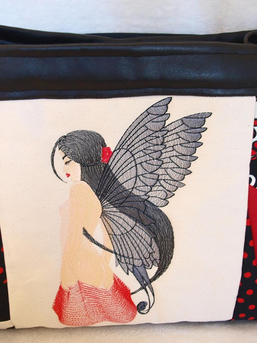 Bag with Fairy with wings free embroidery design