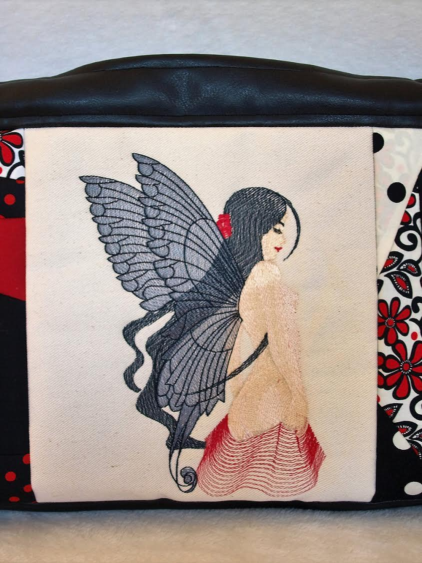 Front part of embroidered bag with fairy free design