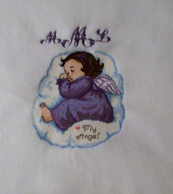 Sleeping Angel cross stitch free embroidery design