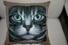 Embroidered pillow with cat's face free design