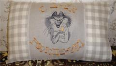 sofa cushion with Cat with a glass of wine machine embroidery design