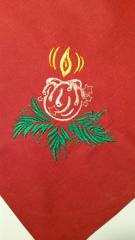 Napkin with Christmas candle free embroidery design