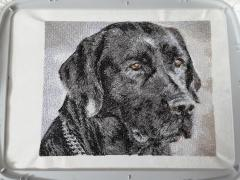Black dog embroidered portrait