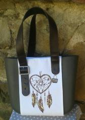 Embroidered bag with dreamcatcher design