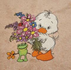Duck with bouquet embroidery design