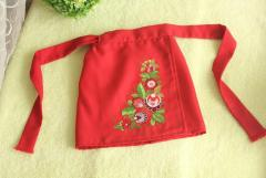 Embroidered apron with flowers design