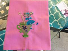 Embroidered napkin with mouse design