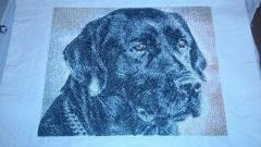 Embroidered picture with black dog free design
