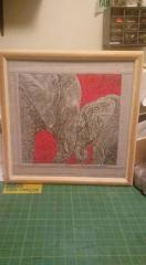 Embroidered picture of two elephants free design