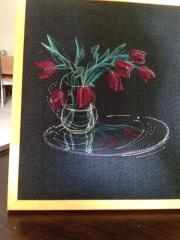 Embroidered picture of vase with tulips free design