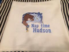Embroidered pillowcase with sleeping bear design