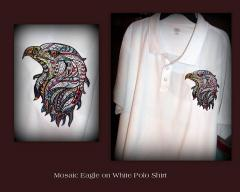 Embroidered polo with head of eagle design