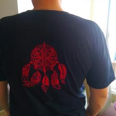 Embroidered t-shirt with dreamcatcher design