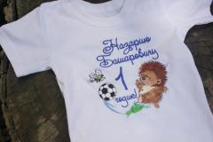 Embroidered t-shirt with hedgehog and ball design
