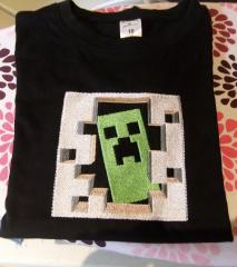 Embroidered t-shirt with Minecraft Creeper design