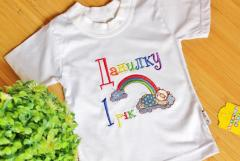 Embroidered t-shirt with sleeping bear design