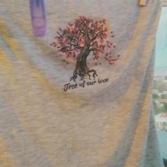 Embroidered t-shirt with Tree of our love design
