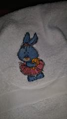 Embroidered towel with bunny in tutu