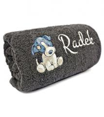 Embroidered towel with cute dog design