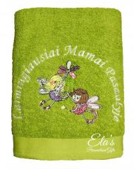 Embroidered towel with flying fairies design