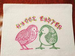 Embroidered towel with lace chicken designs