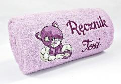 Embroidered towel with little kitty wink design