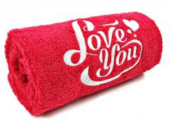 Embroidered towel with Love you design