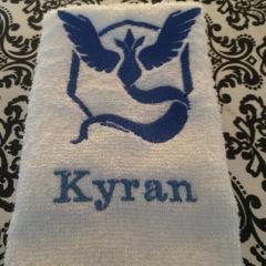 Embroidered towel with Pokemon go team Mystic design