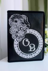 Embroidered wallet with ram head design