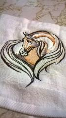 Towel with Horse heart embroidery design