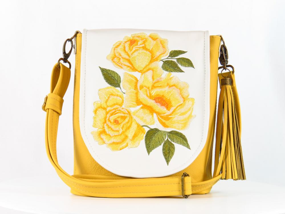 Yellow roses bag with free embroidery design