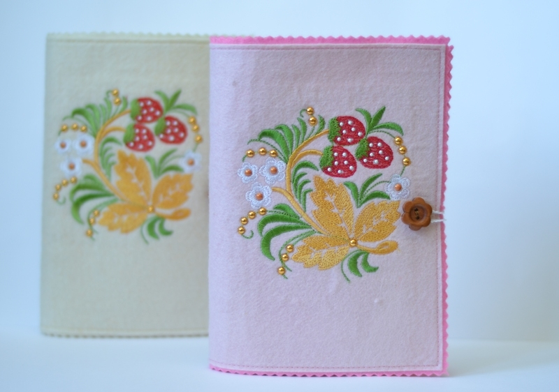 Embroidered strawberry and flowers design