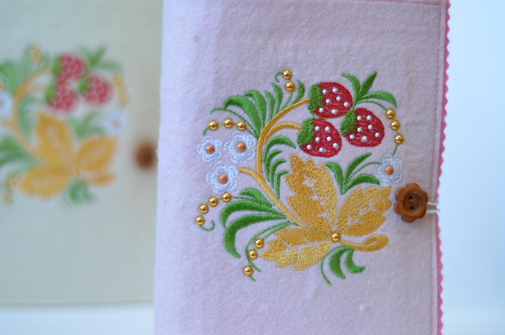 Embroidered strawberry and flowers embroidery design