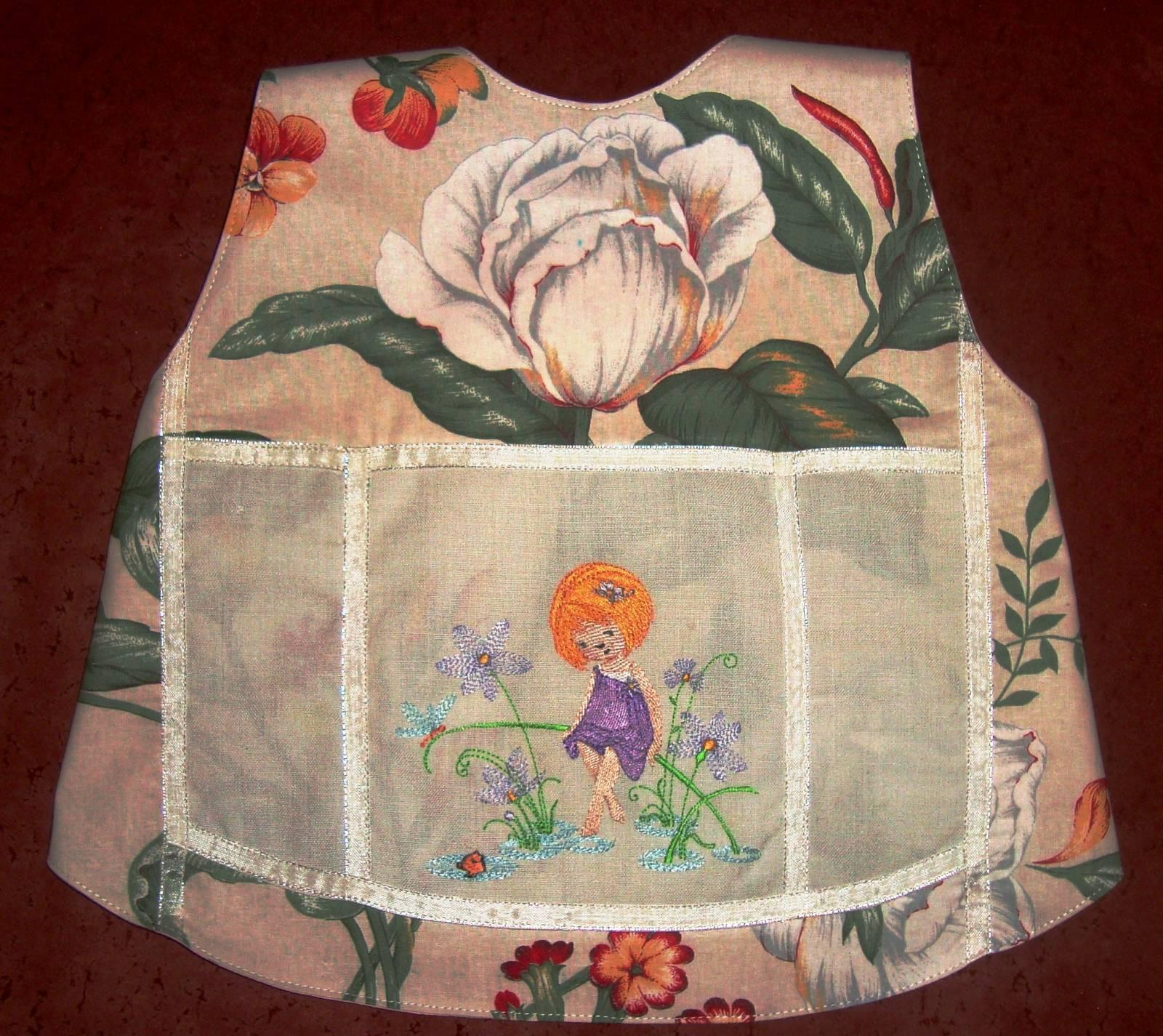 Girl surrounded by flowers machine embroidery design