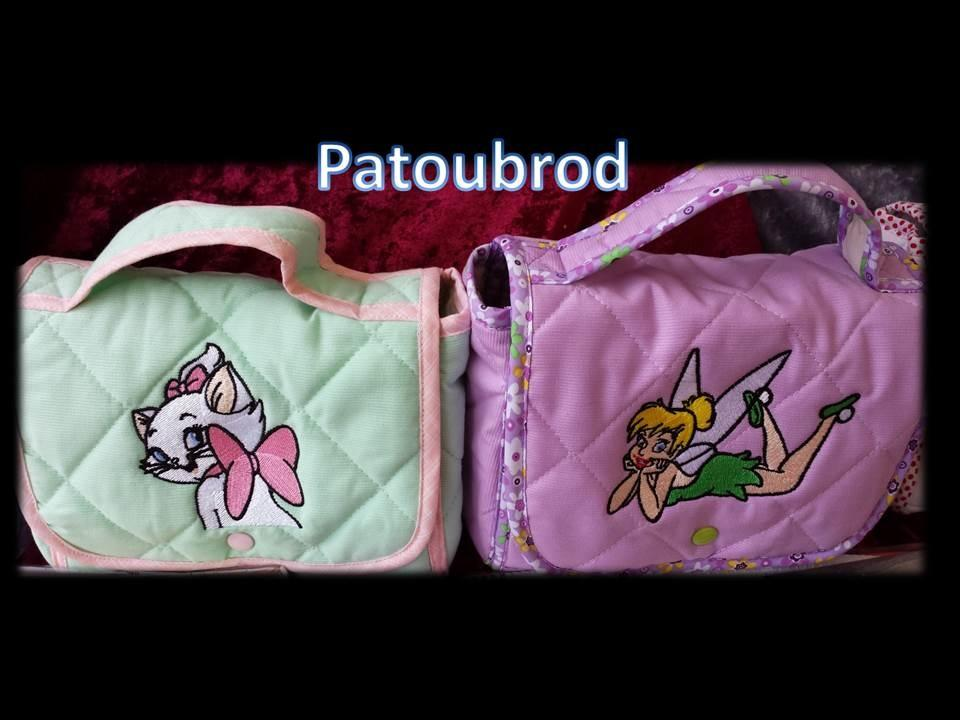 Bags with cartoon characters machine embroidery designs