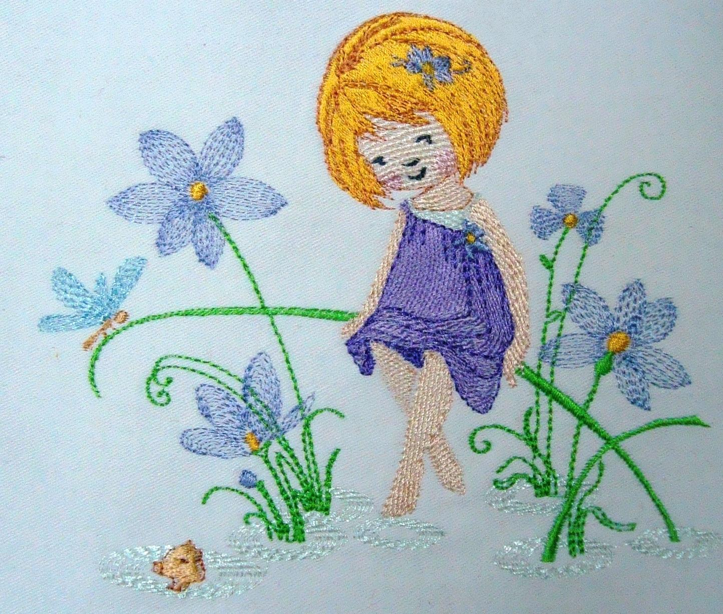 Flower fairy machine embroidery design
