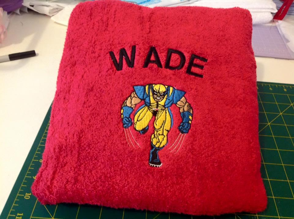 Wolverine embroidery design on the bath towel