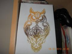 Fantastic owl machine embroidery design