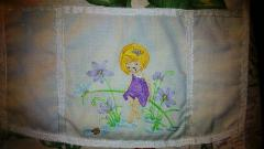Pocket with Little girl on nature embroidery design