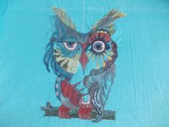 Multicolored owl machine embroidery design