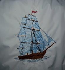 Ship in waves machine embroidery design