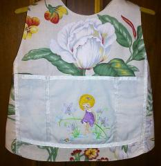 Kitchen apron with Tiny girl embroidery design