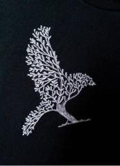 Tree bird machine embroidery design