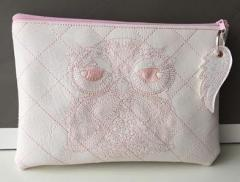 Embroidered bag with white owl design