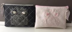 Embroidered bags with lace owl design