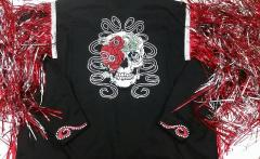Embroidered clothing with skull and flower design