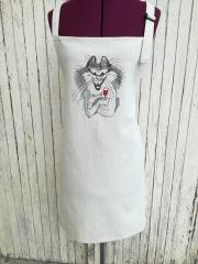 Embroidered apron with cat and glass of wine free design