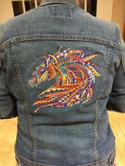 Embroidered jeans jacket with mosaic horse design